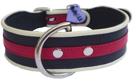 Regimental/Old School Stripes Bespoke Collars - Holly & Lil Collars Handmade in Britain, Leather dog collars, leads & Dog harnesses.
